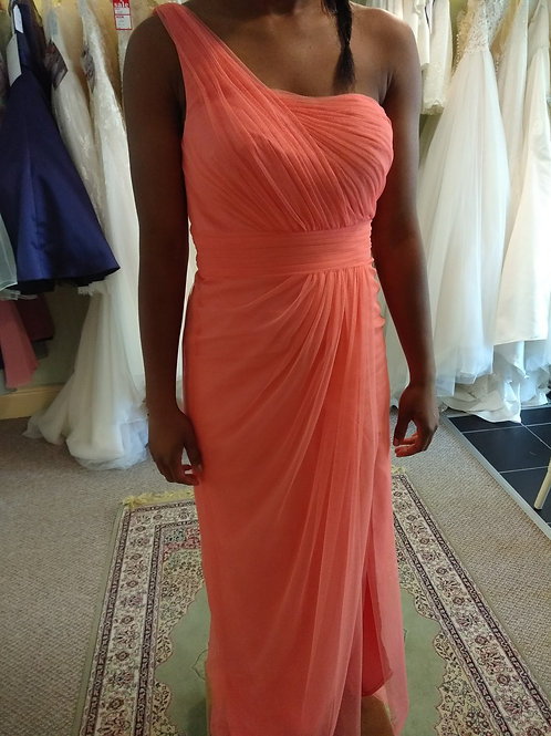 One shoulder coral dress
