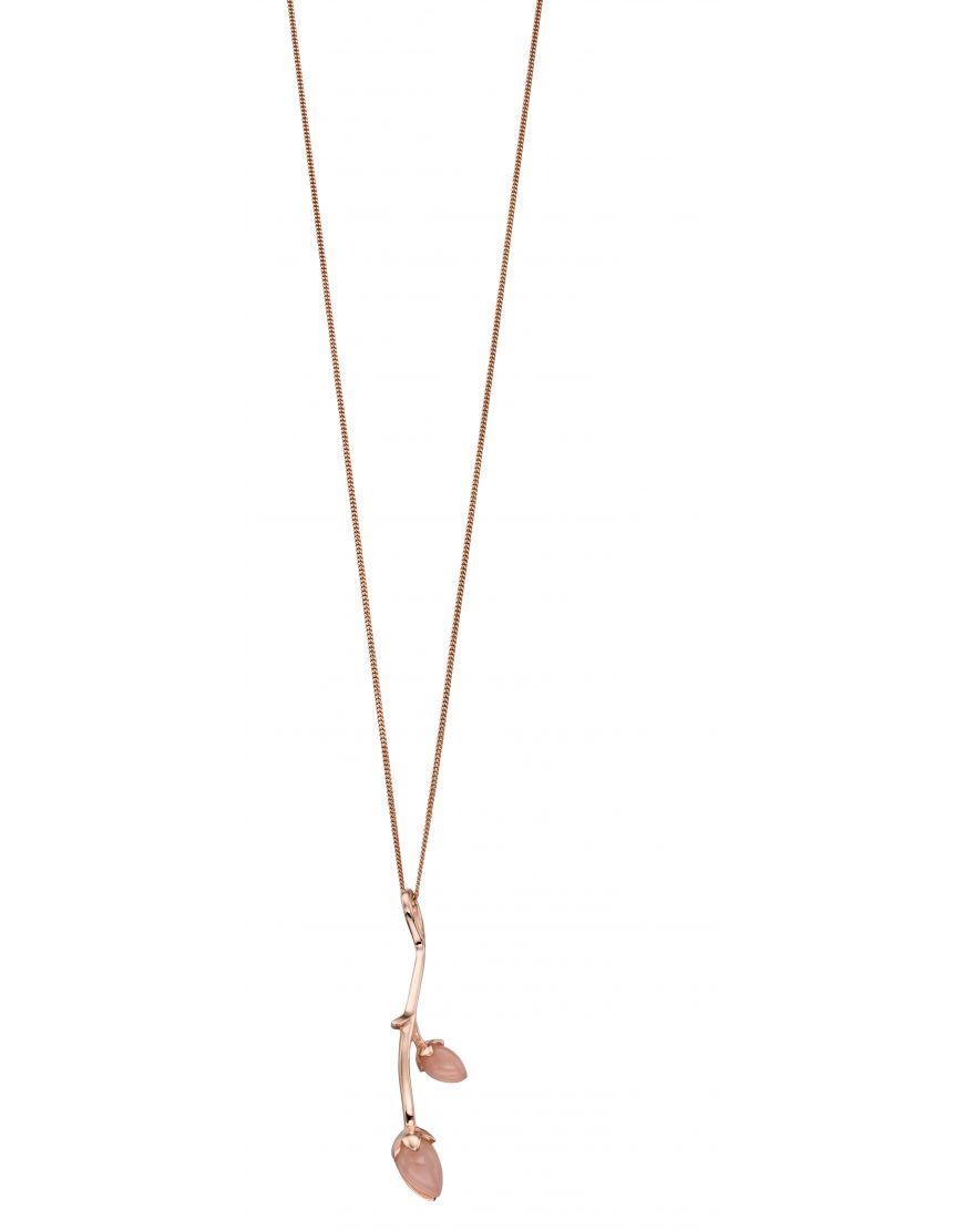 Rose gold & jade flower bud necklace