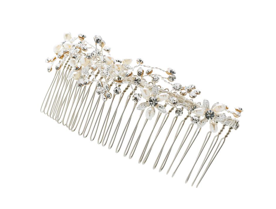 Wide bridal comb with beads & pearls