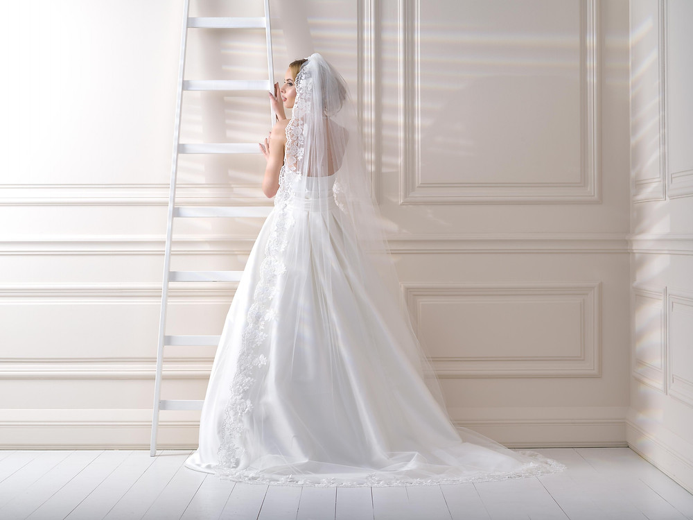 Chapel length veil Lief bridal shop Birmingham