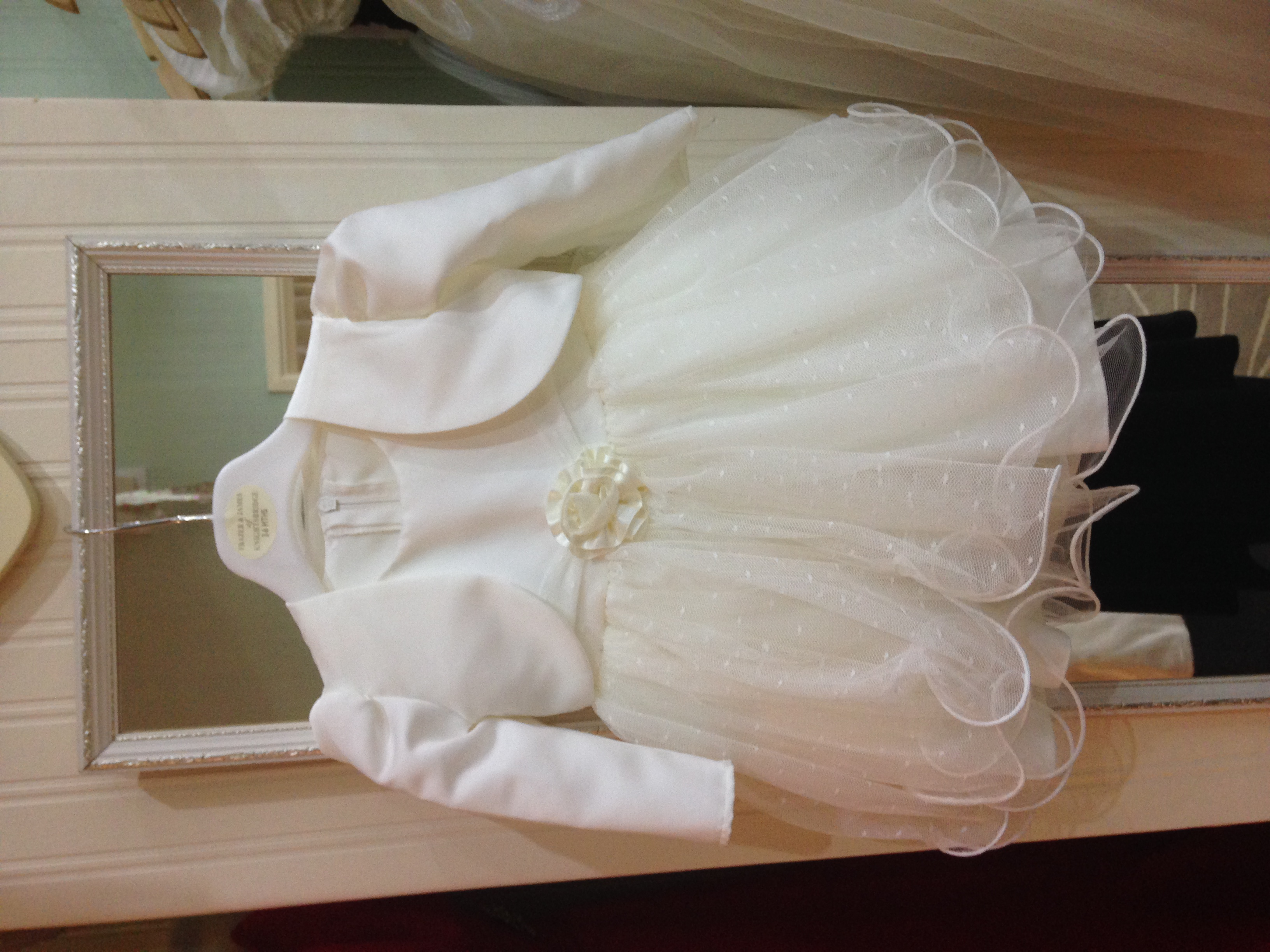 Ivory wedding outfit, baby girl