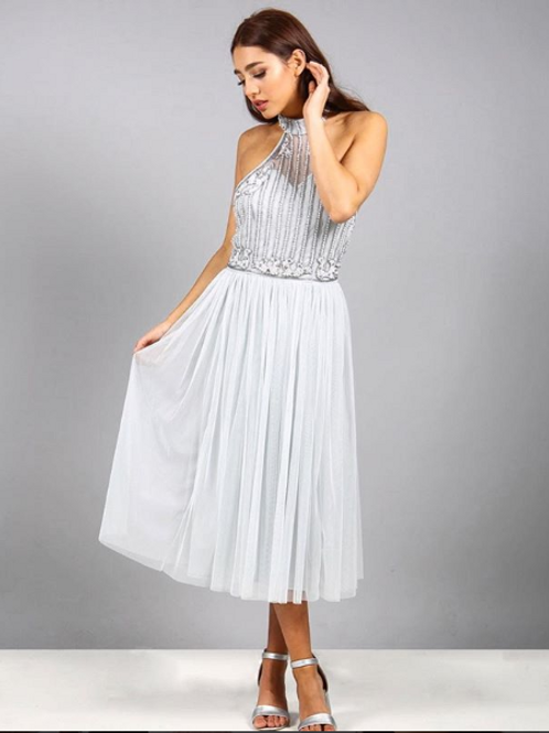Tea length beaded tulle dress