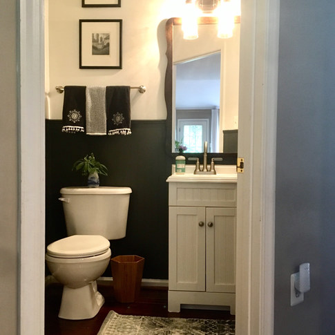 Charcoal and White Powder Room