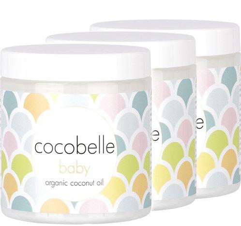 3x Cocobelle Baby Premium Organic Coconut Oil 8fl oz