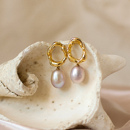 The Waves-Circle Earring with Pearl