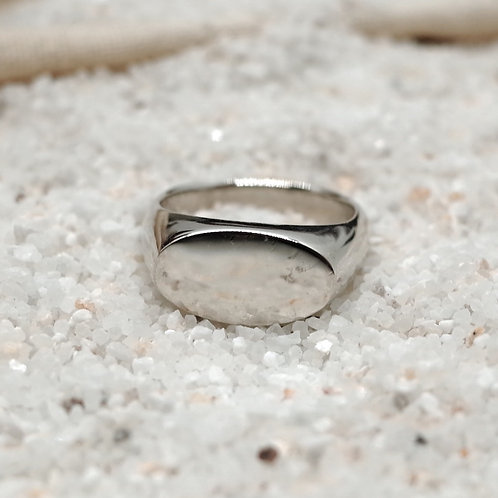 silver olive signet ring