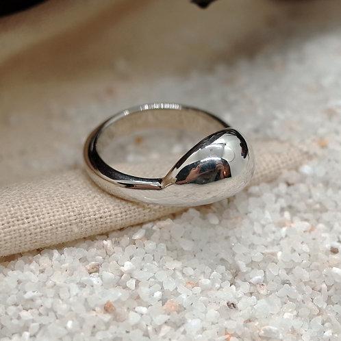 silver half moon ring
