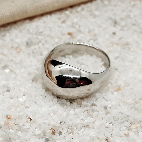 silver full moon ring