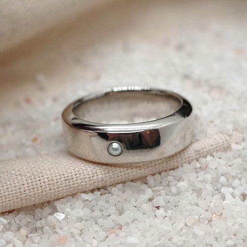 silver pearl ring M