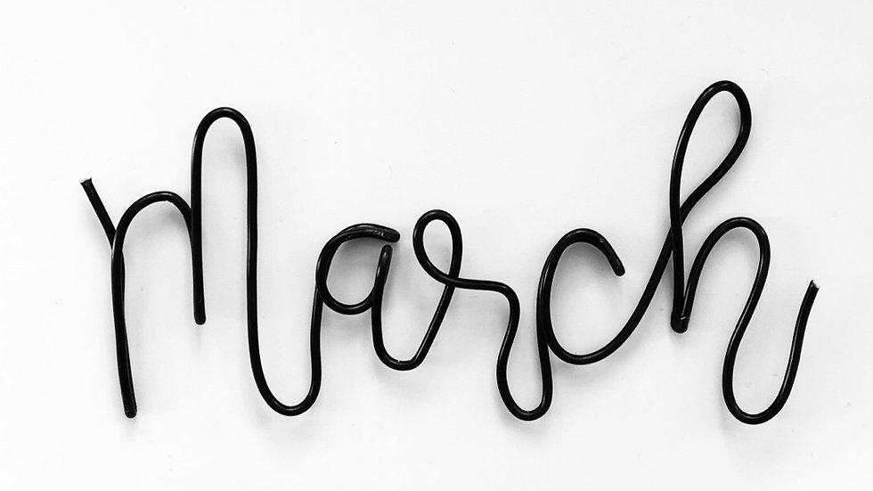 March font - medium size (tallest letters 10cm)