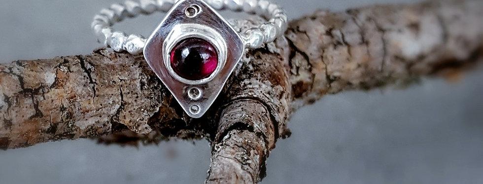 Beaded Garnet Ring