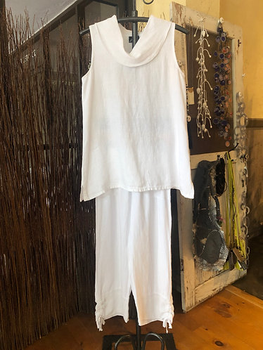 Fenini White Linen Tunic Tank (crop pants sold separately)