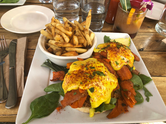 """""""Crab Cake"""" Benedict with Grilled """"Lox"""", SEA"""