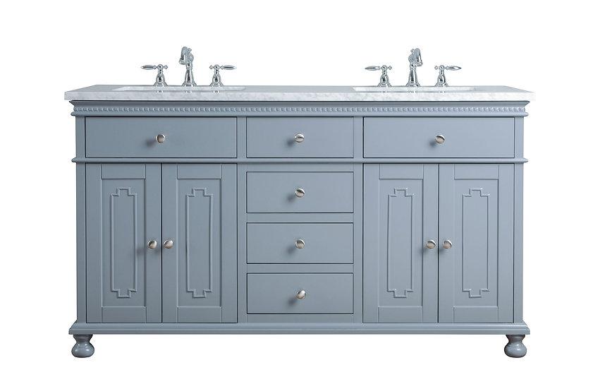 "Abigail Embellished 60"" Grey Double Sink Vanity"