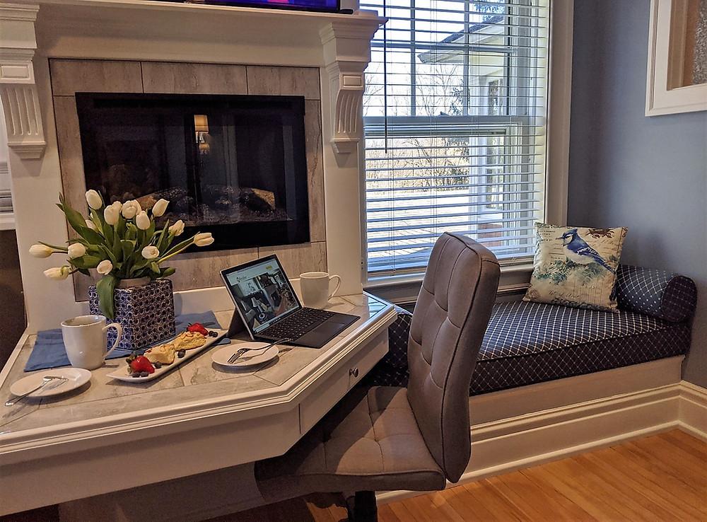 Jay Guest Room Desk, Fireplace, Window Seat, Window