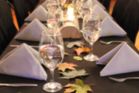 Tablecloth, chair covers, linens, glasswear, decoration