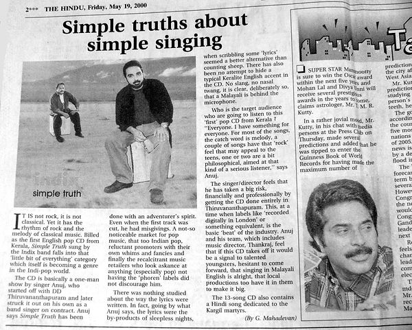 About Anuj Nair - The Hindu, May 19,2000. Simple Truths about simple singing. News report on Anuj Nair. Simple Truth, English music album, Anuj Nair, Music CD album, G.Magadevan - The Hindu daily