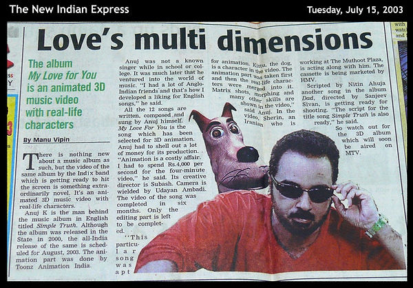 India's first 3D animated music video The New Indian Express 2003 India's first 3D animated music video,My Love For You,Anuj Nair, The Indix, MTV India