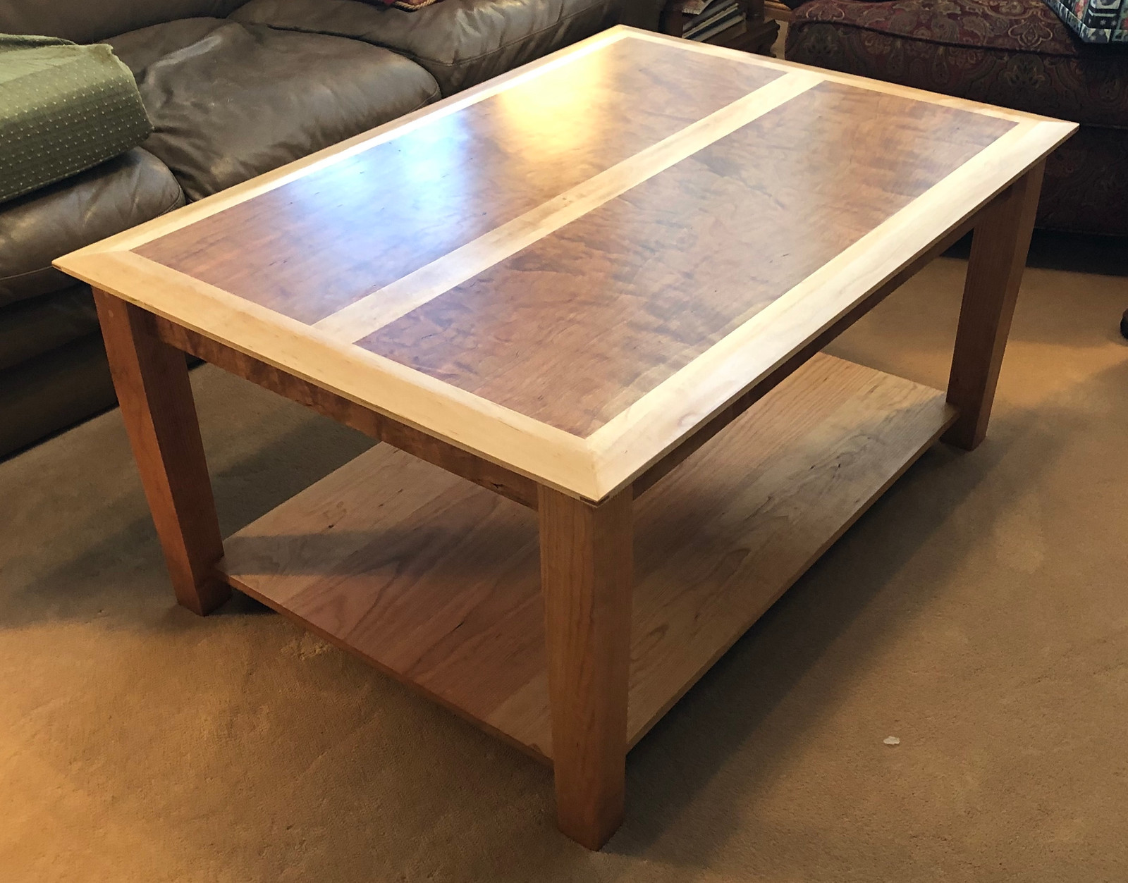 Curly Cherry Coffee Table With Maple Trim