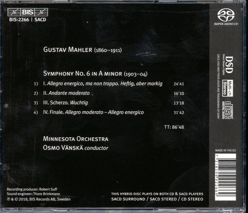 Mahler: Symphony No 6 - Minnesota Orchestra | Osmo Vänskä (SACD)