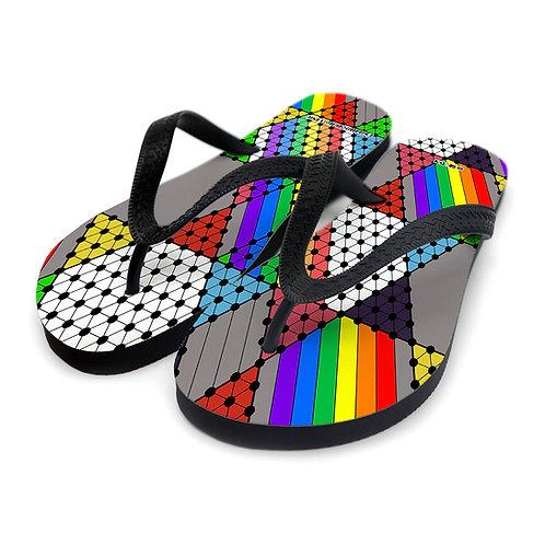Rainbow Star Checkers ~ Flip Flops