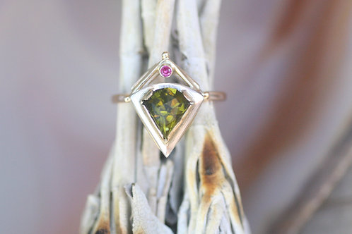 Arizona Peridot, Ruby and Gold Ring