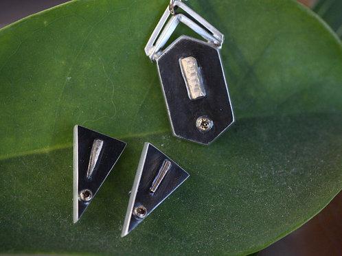 Geo Pendant and Earrings Set