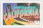 34 cent US Greetings from Califonia stam