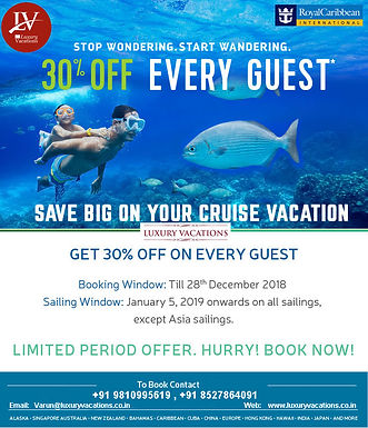 ROYAL Caribbean Cruises:: 30% Off Every GUEST