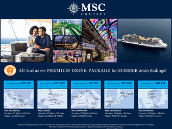 Summer Promo Offer - All Inclusive PREMIUM DRINKS PACKAGE for Summer 2020 sailings