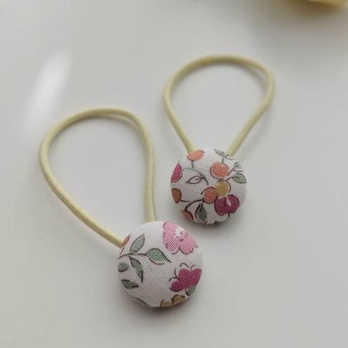 Pink floral hair buttons