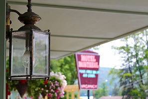 vintage lake george motel montreal neon sign in background with flowers and a lantern