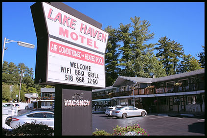 Entrance sign of the lake haven motel in lake george  ny