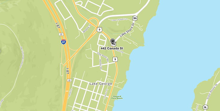 map showing the location of the lake haven motel, 442 canada street, lake george, ny 12845
