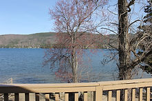Views of lake george from the private balcony in a hotel rooms at the sundowner motel