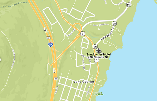 map of the location of the sundowner on lake george at 420 canada street in lake george ny