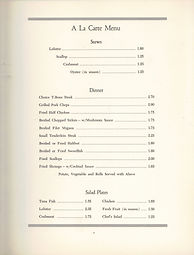 Herbert Grand Hotel in Kingfield, Maine historical menu from 1950s for early Sugarloaf skiers and hikers to the Appalachian Trail