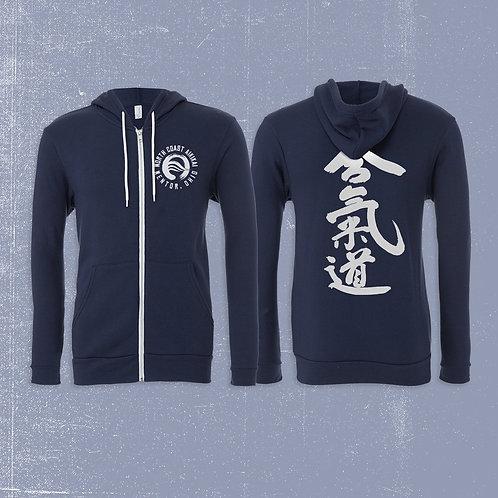 North Coast Aikikai Navy Blue Hoodie w/ White Logo
