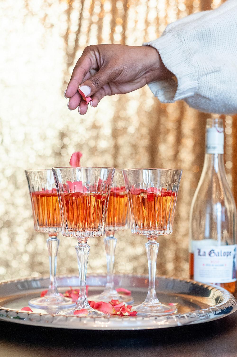 Fancy cocktails and petals