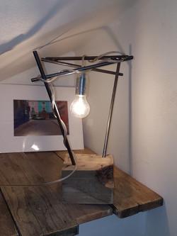 Lampe bloc bois industriel