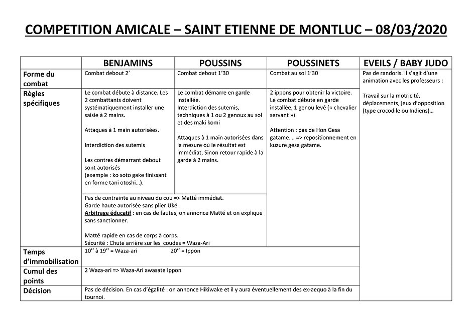 reglement COMPETITION AMICALE JC STEPHAN