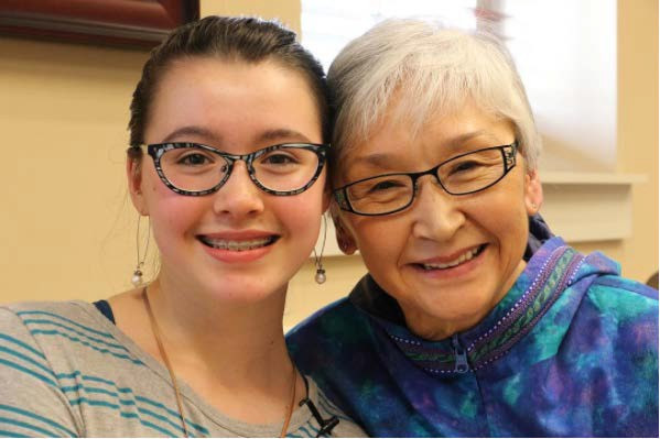 Anchorage 7th grader Gwendolyn MacLean with her grandmother, Edna MacLean.