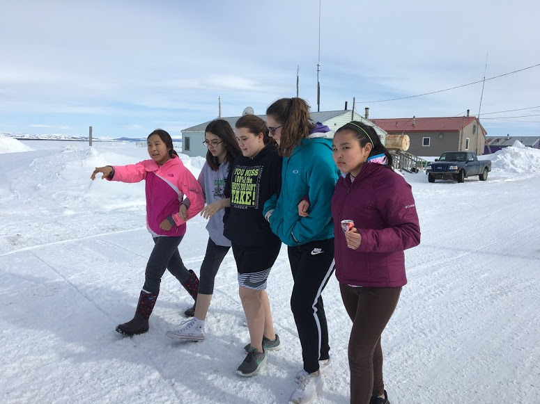 Colony Middle getting a tour of Shaktoolik.