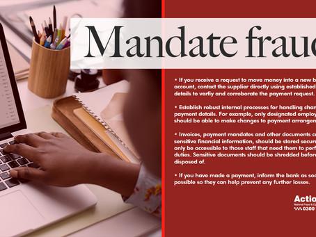 Action Fraud: Mandate Fraud