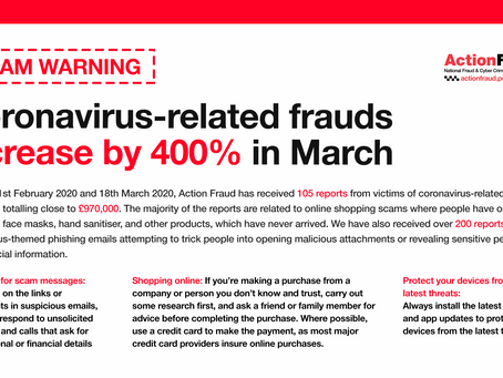 COVID-19 related fraud reports increase by 400% in March