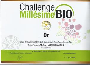 2012, Or - Challenge Millésime Bio
