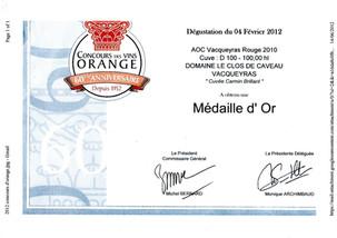 2010, Or - Concours des Vins d'Orange