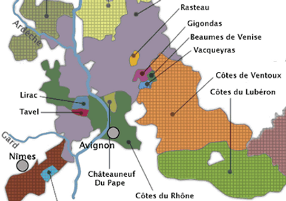 South Rhone wine map