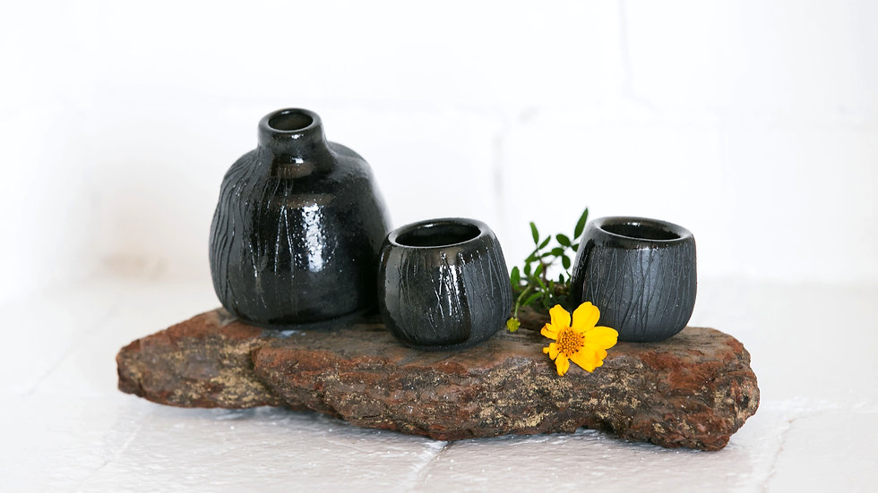 black small sake set