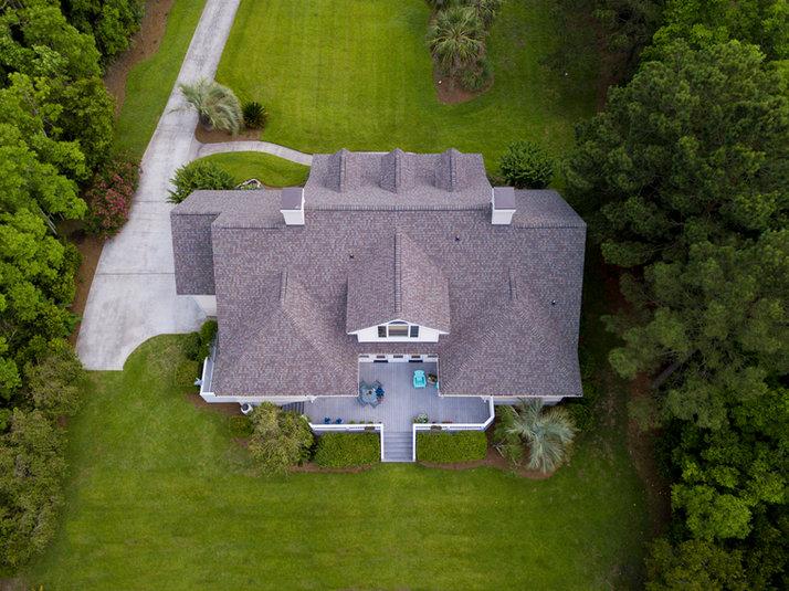 Vue aérienne d'une belle propriété